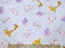 Little Suzy's Zoo Friends Blue HTF Fabric