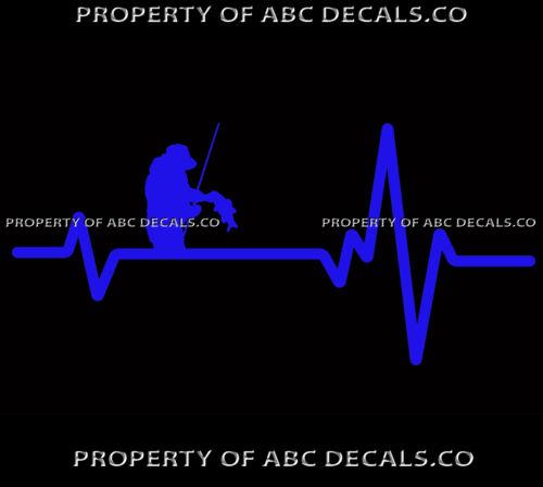 VRS Heart Beat Line FISHING FISHERMAN Holding Fish Rod Reel Pole CAR VINYL DECAL