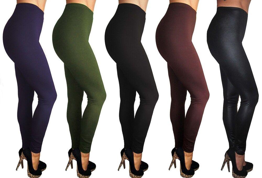 Femmes Stretch Noir Long Longueur Tall Leggings Taille Plus Haut 8 10 12 14 16 18 20 Vente D'éTé SpéCiale