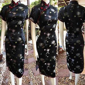 Details zu Asia China/Japan Qipao/Geisha-Kleid/Kostüm Cheongsam Schwarz  Gr.10,10,10,10,10