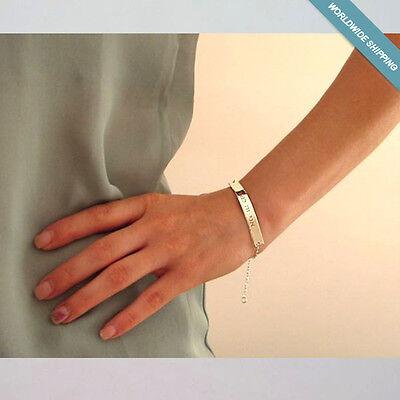 Personalized Sterling Silver Bracelet Custom Nameplate Bracelet Gift for Her