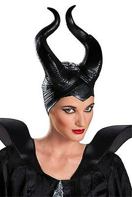 Womens Maleficent Deluxe Latex Horns Head piece Halloween Cosplay Costume Prop