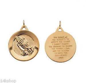 14k 14kt gold 44 gram serenity prayer charm pendant praying hands image is loading 14k 14kt gold 4 4 gram serenity prayer aloadofball Images