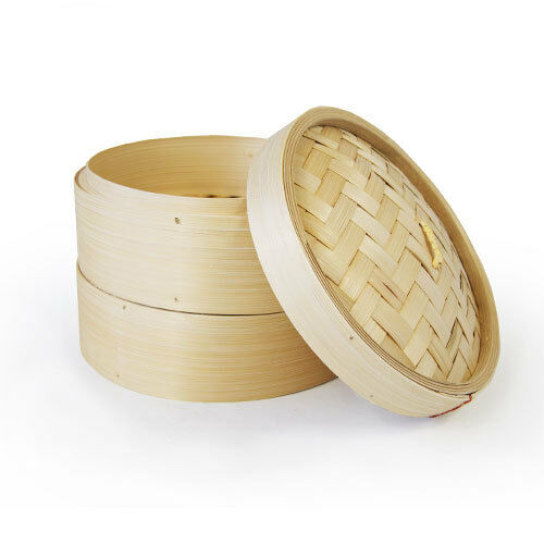 """TWO TIER 8"""" BAMBOO STEAMERS WITH LID"""