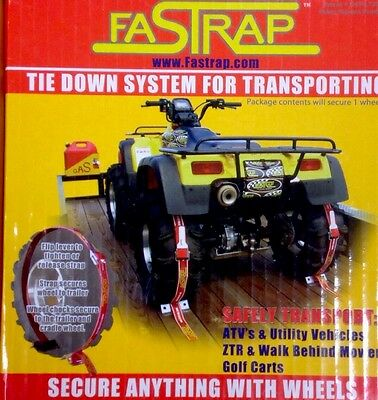 Two Pack Green Touch Fastrap Tie Down System for ATV's Zero Turn Mowers 2 Wheels