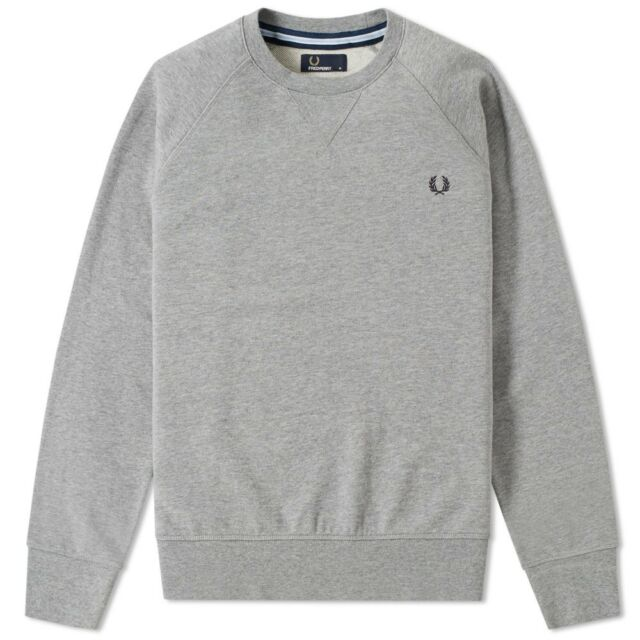 dff94459426 Mens Fred Perry Loopback Sweatshirt - Grey Long Sleeve Crew Neck XL