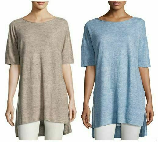 NWT Eileen Fisher Lightweight Linen Melange links Bateau Neck Box Top Choose
