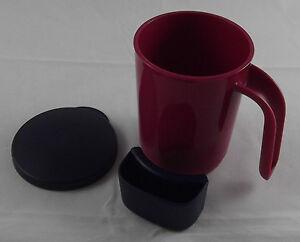 Tupperware-Tasse-Kaffeebecher-Teebecher-mit-Deckel-350-ml-Weinrot-Blau-Neu-OVP
