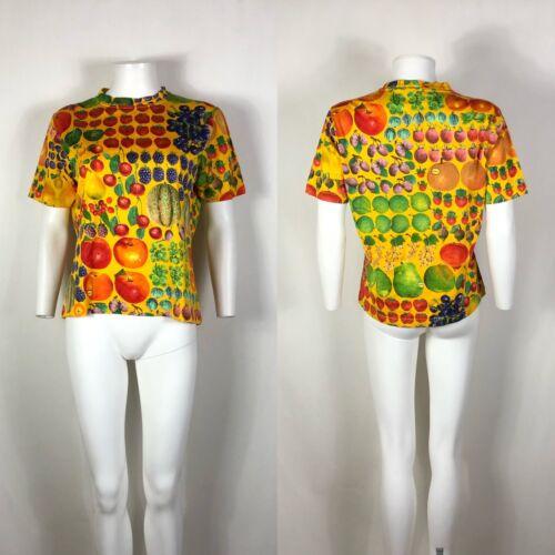 Rare Vtg Gucci Mid 90s Yellow Fruit Print Tee M - image 1