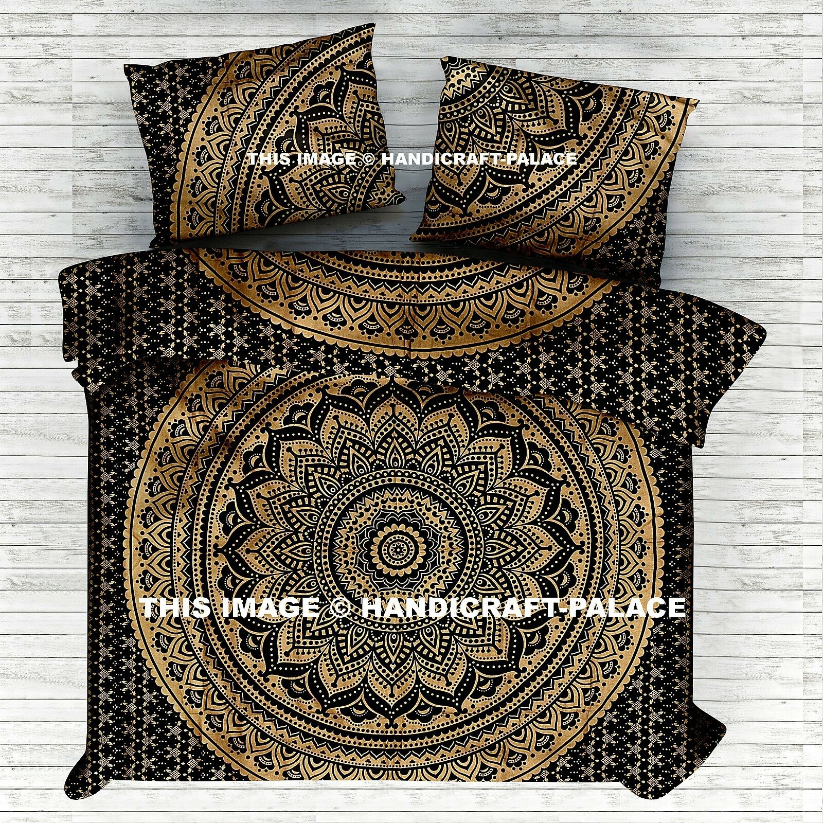 Indian Mandala gold Ombre Bed Sheet Tapestry Wall Hanging Hippie Boho Bedding