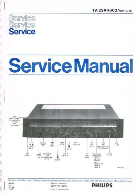 Philips Receiver TA 22AH603 Manual Schaltplan ORIGINAL ca. 24 Seiten ...