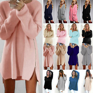 Womens-Warm-Long-Sleeve-Jumper-Blouse-Top-Tunic-Knit-Sweater-Loose-Mini-Dress