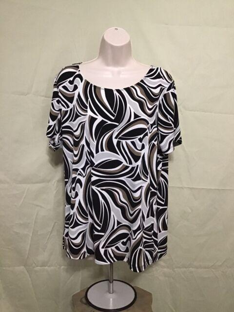 East 5th Avenue Women's Size XL Stretch Multicolor Blouse Top Short Sleeve EUC