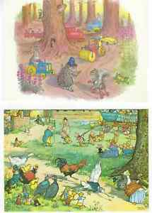 2-MOLLY-BRETT-COLLECTABLE-POSTCARDS-034-Summer-Sports-034-amp-034-Woodland-Policeman-034