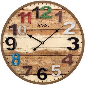 Neu Grosse Ams Wanduhr Holz Uhr Braun Bunt Antik Vintage Retro
