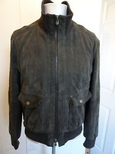 Mens-Rare-Armani-Collezioni-Chocolate-Brown-Scaled-Leather-Jacket-Size-50