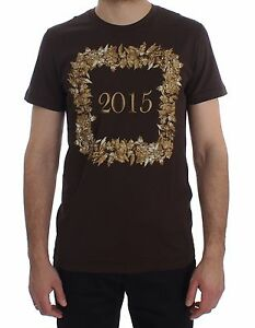 NEW DOLCE & GABBANA T-shirt Crewneck 2015 Motive Print Brown Cotton s. IT52 / XL