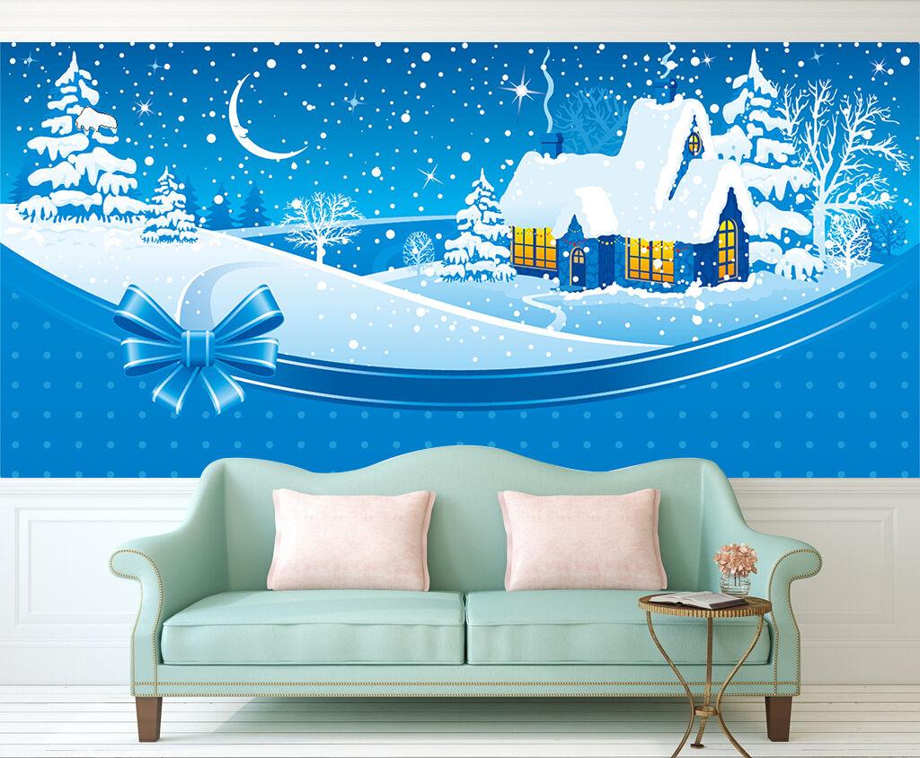 3D Christmas Snow, house 334 WallPaper Murals Wall Print Decal AJ WALLPAPER