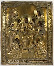 c1870 ANTIQUE RUSSIAN ORTHODOX ICON JESUS CHRIST SAVIOR OF SMOLENSK BRASS OKLAD