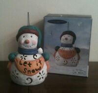 Elaine Thompson Snowkins Collection Ceramic Snowman Luminary Candle Holder
