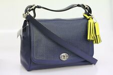 COACH Legacy Perforated Leather Romy Top Handle 22386 Silver/Navy/Bright  Citrine