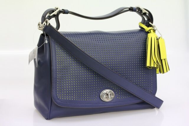 COACH Legacy Perforated Leather Romy Top Handle 22386 Silver Navy Bright  Citrine c31e46a5ed0cb