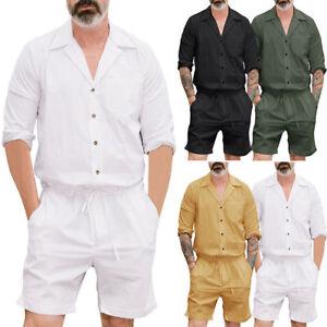 ee995ef1c13f Men s One Piece Rompers Short Sleeve Street Casual Cargo Pants ...