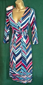 New-MONSOON-Uk-8-10-12-Chevron-Striped-ARABELLA-Stretch-Jersey-Day-Evening-DRESS