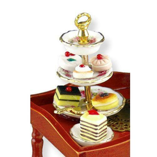 Reutter Porcelain Cake Tray Fancy pastries on Tray Doll 1:12 1.650//5