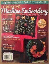 Creative Machine Embroidery Silk Velvet Tips Tricks Jan/Feb 2015 FREE SHIPPING!