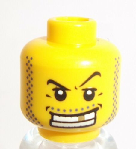 Lego Yellow Male Head x 10 Gold Tooth for Minifigure