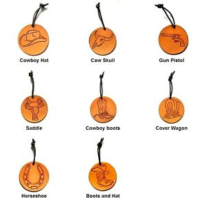 Leather WESTERN CHRISTMAS ORNAMENTS - Hand Tooled - You Choose Pattern