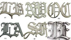 Old English Cursive Initials Los Angeles New York Las Vegas Nv USA Belt Buckle