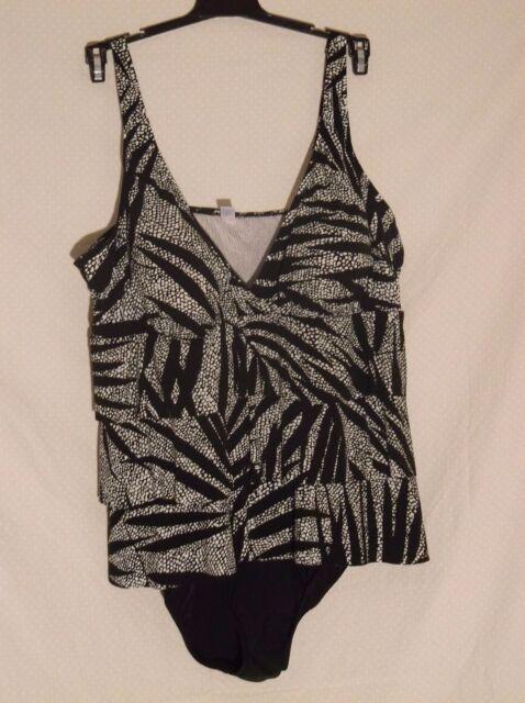 2942d05050fed NWT Tropical Escape designer one piece swimsuit size 18W triple tier faux