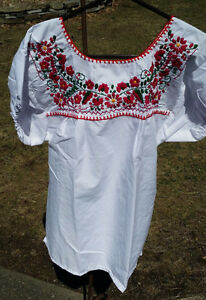 Puebla-Mexican-Blouse-Top-Shirt-White-Embroidered-Flowers-Floral-Large-L-L