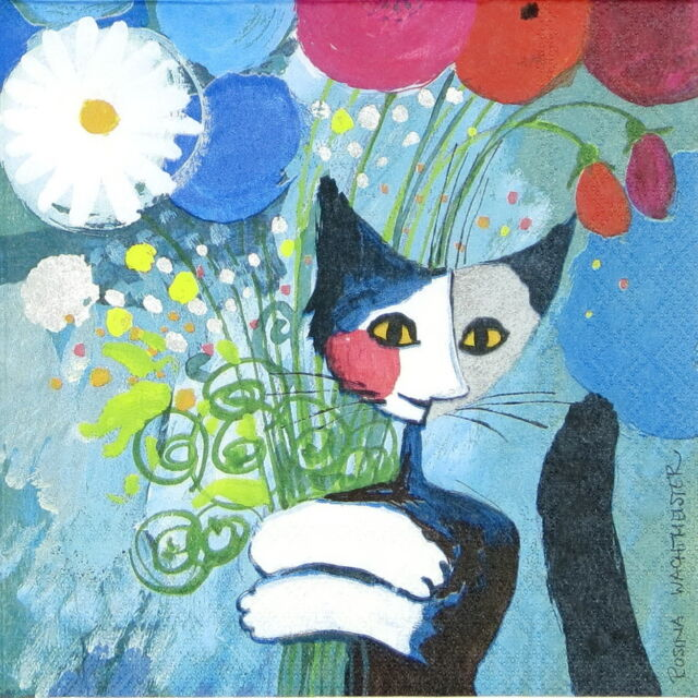 4x Paper Napkins for Decoupage Decopatch Cat / R.W.: For you
