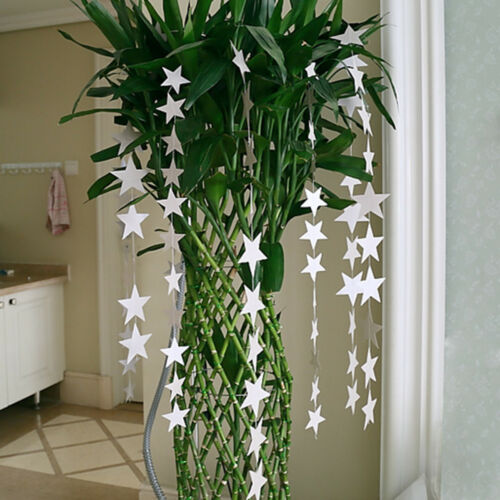 Silver 4M Paper Garland Strings Star Romantic Wedding Party Home Hanging Decor