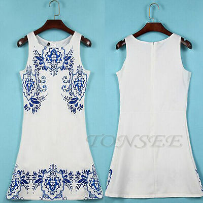 Fashion Womens Reto Print Chiffon Sleeveless O-Neck Party Short Mini Dress Lot