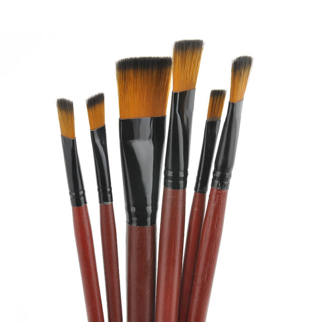 6Pcs/Set Nylon Acrylic Oil Paint Brushes For Art Artist Supplies Watercolor HS