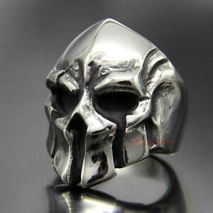 Men-039-s-Vintage-Stainless-Steel-Spartan-Warrior-Skull-Ring-Greek-Gladiator-Helmet