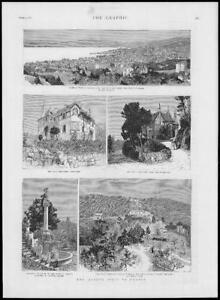 1887-Antique-Print-FRANCE-Cannes-Queen-Villa-Edelweiss-Fountain-211