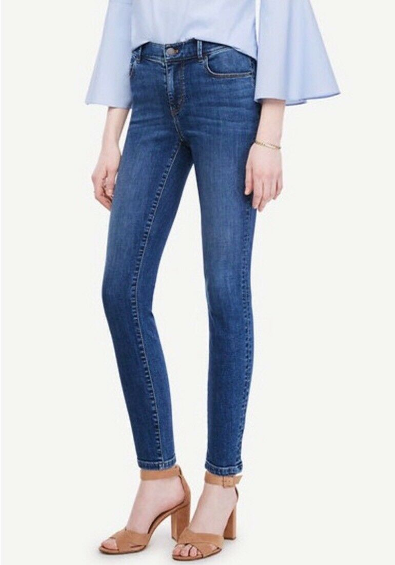 Ann Taylor Sz 2 Modern Skinny Ankle Jean Coastal Breeze bluee Stretch Denim NWT
