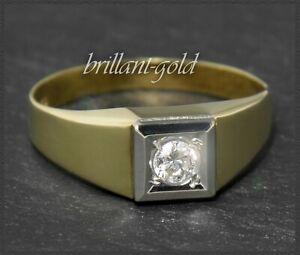 Diamant-Brillant-Damen-Ring-0-20ct-Solitaer-aus-585-Gold-Gelbgold-amp-Weissgold