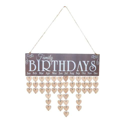 Family Wooden DIY Birthday Reminder Board Perpetual Craft Wood Event Calendar