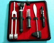 LED FIBER OPTIC Otoscope Tuning Fork C128 Taylor Hammer Diagnostic ENT SET BLACK