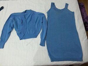 Lotto-211-vestito-vestitino-con-copri-spalle-fatto-a-mano-di-filo-celeste-TG-S-M