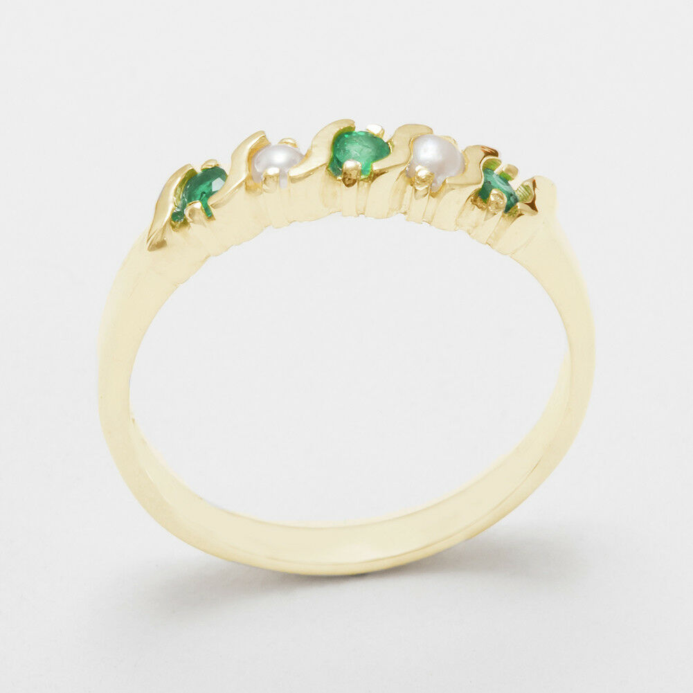 Solid 10k Yellow gold Natural Emerald & Real Pearl Ladies Eternity Ring