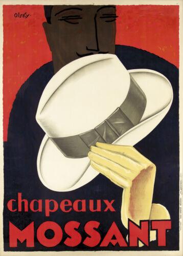 chapeaux mossant hats France vintage Art painting advert canvas 1920
