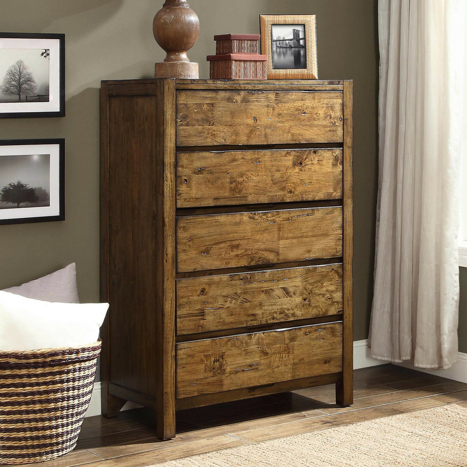 Details About Chest Of 5 Drawer Dresser Solid Wood Rustic Barn Finish Bedroom Furniture