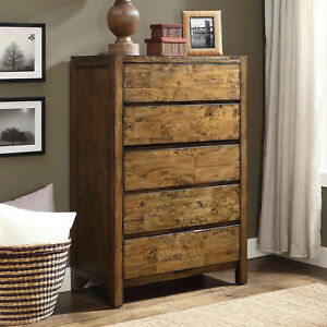 Details about Chest of 5-Drawer Dresser Solid Wood Rustic Barn Wood Finish  Bedroom Furniture